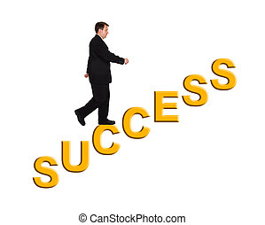 Businessman and stairs Success