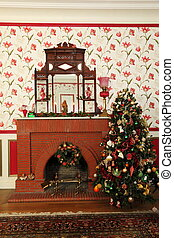 Vintage Christmas - An old fireplace and Christmas tree...