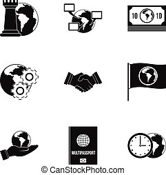 Global icon set, simple style - Global icon set. Simple set...