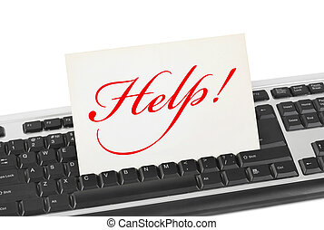 Computer keyboard and card Help isolated on white background