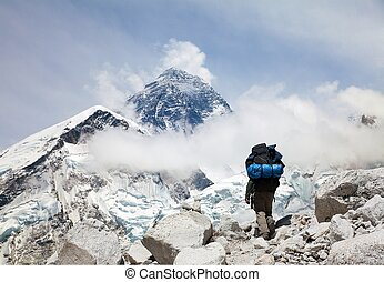 Mount Everest from Kala Patthar with tourist - Panoramic...