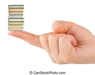 Hand and small books isolated on white background