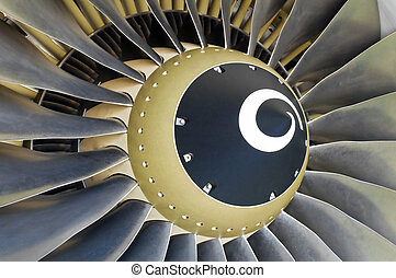Jet engine detail. - Close-up of a turbofan jet engine in...