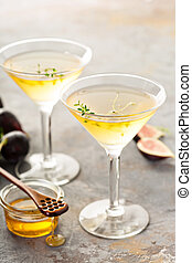 Fig and honey martini - Fig, thyme and honey martini, fall...