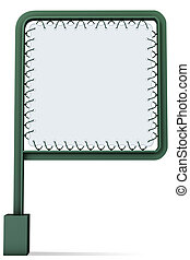 Tarpaulin green metal signal - 3d illustration, Tarpaulin...