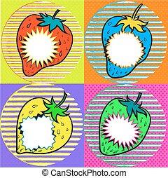 pop art strawberry with speech bubbles kitcsh art stock