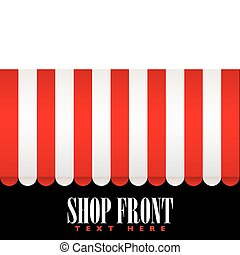 Shop front awning - Red and white strip shop awning with...