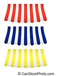 Awning collection bow - brightly coloured shop awning covers...