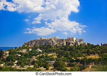 Parthenon temple in Acropolis at Athens, Greece - travel...