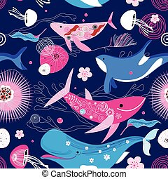 Vibrant vector pattern of different whales on a blue...