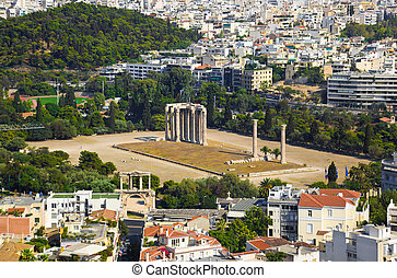 Temple of the Olympian Zeus at Athens, Greece - view from...