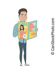 Young hispanic businessman reading magazine.