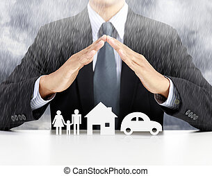 home, health, car, insurance concept with businessman