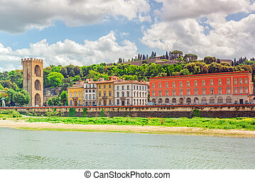 Beautiful landscape view bank of the Arno River of the...