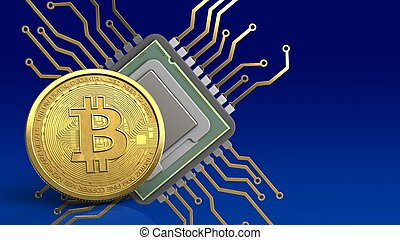 3d bitcoin - 3d illustration of cpu over blue gradient...