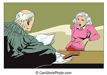Stock illustration. Judge in courtroom. - Stock...