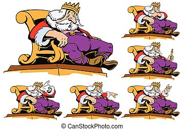King on the throne in different poses. Stock illustration.