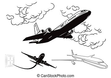 Flying planes. Stock illustration. - Stock illustration in...