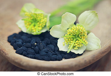 Nigella flower with seeds in a wooden bowl