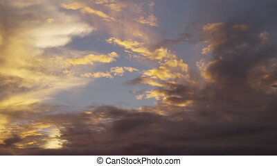 Yellowish sky and clouds - A wide shot of the sky on sunset....