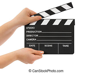 Hands with cinema clapboard isolated on white background
