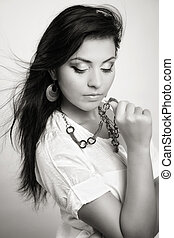 Glamour portrait of young sensual woman - Glamour portrait...