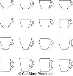 Set of contours of cups and mugs, vector illustration