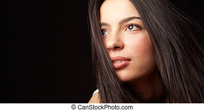 Hopeful young cute student woman - Portrait of hopeful young...