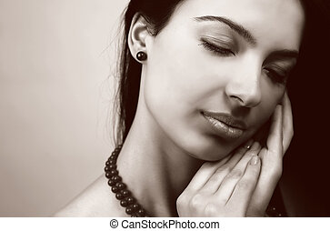 Beauty portrait of sensual feminine woman