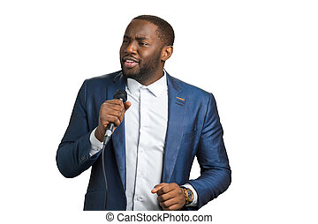 Professional jazz singer, white background. Afro american...