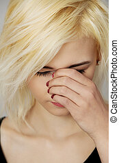 Big sinus pain , medical problem - Young woman with sinus...