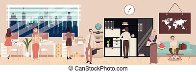 office situation employee working interior discussion group of people with desk sofa teamwork vector illustration
