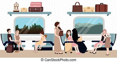 inside train business class situation people sitting travel...