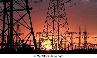 Power transmission line supports - Power lines in the rays...