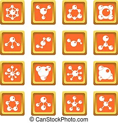 Molecule icons set orange