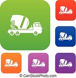 Concrete mixer truck set collection - Concrete mixer truck...