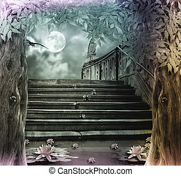 Old stone staircase in celebration of Halloween on...