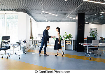 Business people in the office. Man and woman shaking hands....