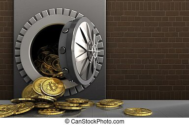 3d bitcoins heap over bricks - 3d illustration of metal box...