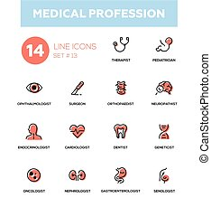 Medical professions - Modern simple thin line design icons,...