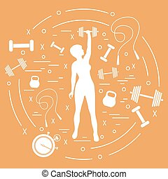 Cute vector illustration of fitness athletic woman holds...