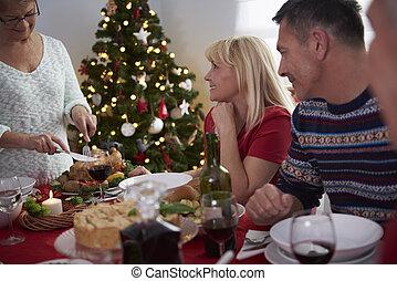 Daheim, abendessen, Weihnachten, familie