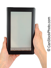 E-Book Examination - Female hands with electronic book...
