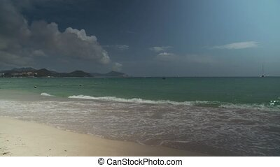 Beautiful South China Sea on Dadonghai Beach on the tourist...