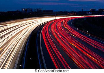 coches, noche, carretera