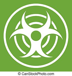 Sign of biological threat icon green - Sign of biological...
