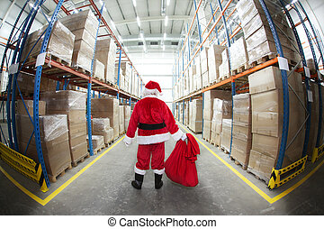 santa claus in distribution center - lonely santa claus...