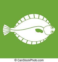 Flounder icon green - Flounder icon white isolated on green...