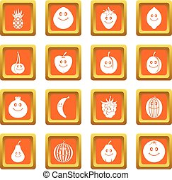 Smiling fruit icons set orange