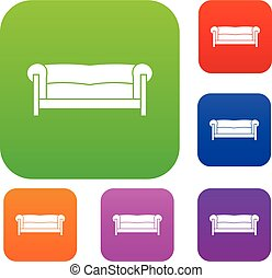 Sofa set collection - Sofa in simple style isolated on white...